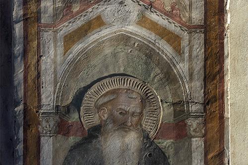 Florenz, Villa Le Campora, Nordwand: Der Heilige Antonius mit einem Mönch – Ausschnitt – Streiflichtaufnahme, Detail. Aufnahme: Rabatti - Domingie Photography, 2010