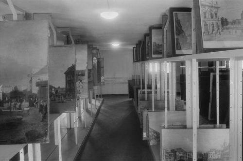 Central Collecting Point Marburg. Depot im Staatsarchiv. Aufnahme: Fotograf unbekannt, 1945/1946