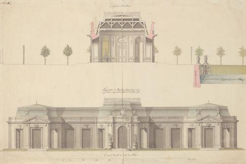 französisch, 1720/1730: Entwurf für einen Pavillon mit Wasserbecken, Schnitt und Aufriss. Aufnahme: Hessisches Staatsarchiv Marburg, 2017