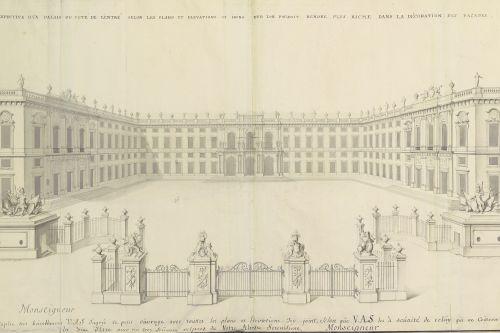Louis Remy de La Fosse: Kassel-Wilhelmshöhe, Entwurf zu Schloss Weißenstein, perspektivische Ansicht, 1709. Aufnahme: Hessisches Staatsarchiv Marburg, 2017