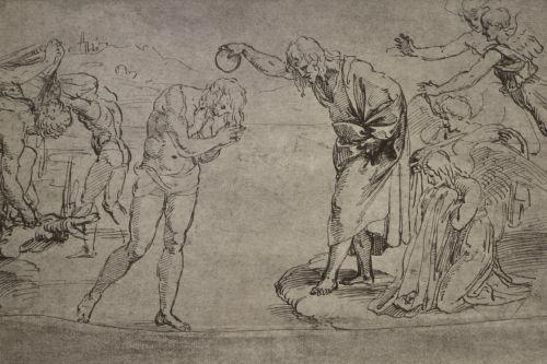 Raffael, Taufe Christi (Skizze). Aufnahme: unbekannt, vor 1918